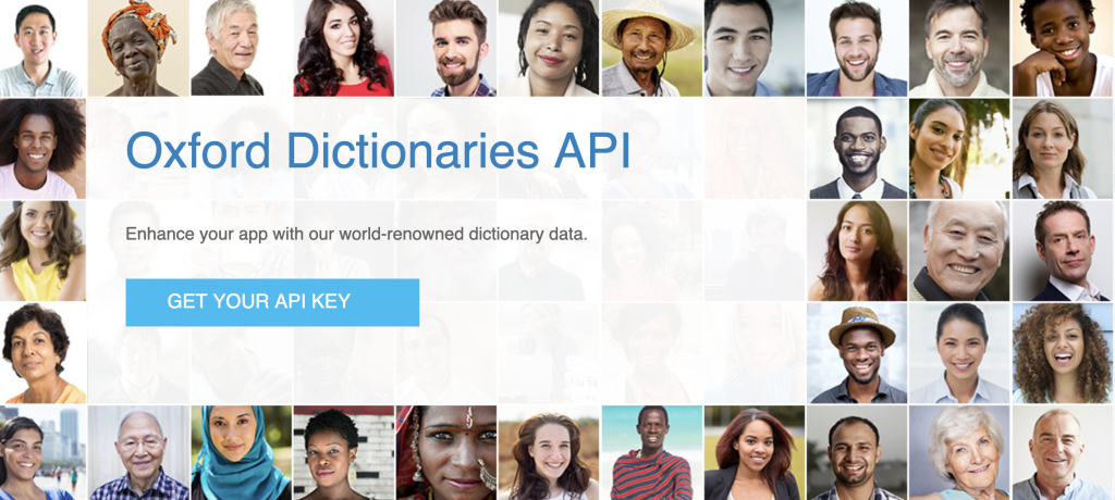 Screenshot of the Oxford Dictionaries API home page